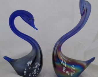 Glass Swans Cobalt Blue Iridescent Look Pair