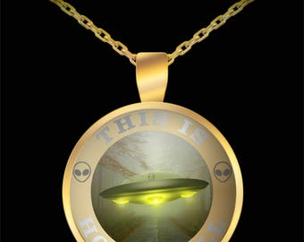 This is how I roll - UFO spaceship - gold pendant necklace - jewelry for those who believe - alien or extra terrestrial