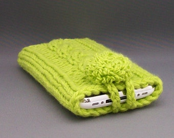 Phone Case iPhone 4 to 7, Samsung Galaxy s3, to s7, Galaxy Note 2 to 6 Hand Knit Hot Green Embroidered Covered Button Gift
