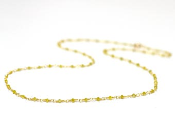 18K Gold. Yellow Diamond Necklace, Tiny Yellow Diamond beaded necklace, April Birthstone, 18K Gold Diamond Necklace,