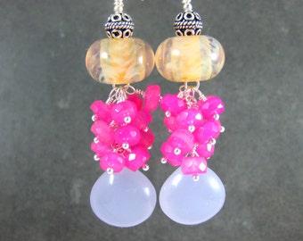 Chalcedony Dangle Earrings, Hot Pink Purple Peach Earrings, Gemstone Earrings, Boro Lampwork Earrings, Colorful Jewelry, Statement Earrings