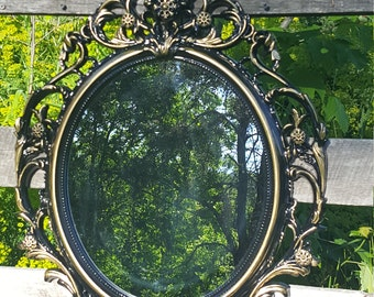 SALE Large Black Gold Wall Mirror/ Ornate Mirrors/ Baroque Mirror/ Shabby Chic Mirror/Hollywood Regency Mirror Bathroom Bedroom Nursery