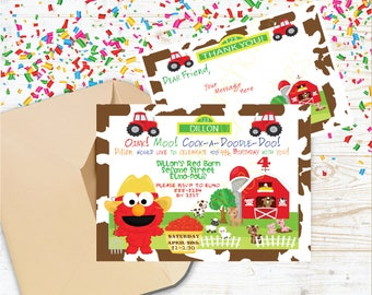 Elmo Invitation,Elmo Invitations,Elmo Invites,Elmo Invite,Sesame Street Invite,Barnyard Invitation,Barnyard Invitations,Invites farm animals