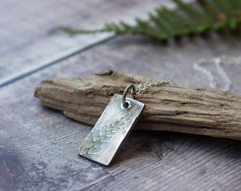 Ecosilver Fern Leaf Rectangle Pendant, Handmade Oxidised Recycled Pendant, gift for her, woodland inspired necklace