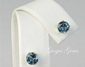 London Blue Topaz Sterling Silver Stud Earrings 5mm 1.30ctw