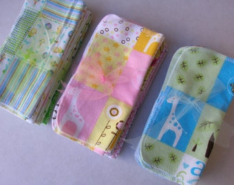 36 Cloth Baby Wipes - Reusable Cloth Wipes - Flannel Baby Wipes - All Girl - All Boy - All Baby - 3 Dozen Wipes - Select Your Own Designs