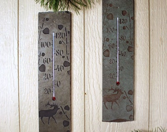 Natural Stone Thermometer - Elk in Aspens on slate