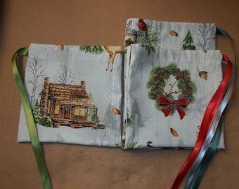 Cozy Cabin  Christmas   drawstring gift/treat/goody/storage bags