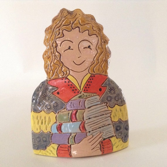 IN STOCK NOW : Lady with Books.  Handmade ceramic bust, mini-bust, Colourful People, collectible, one of a kind