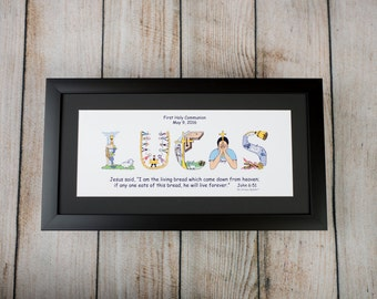 Personalized First Communion Gift for Boys and Girls with 10x20 frame