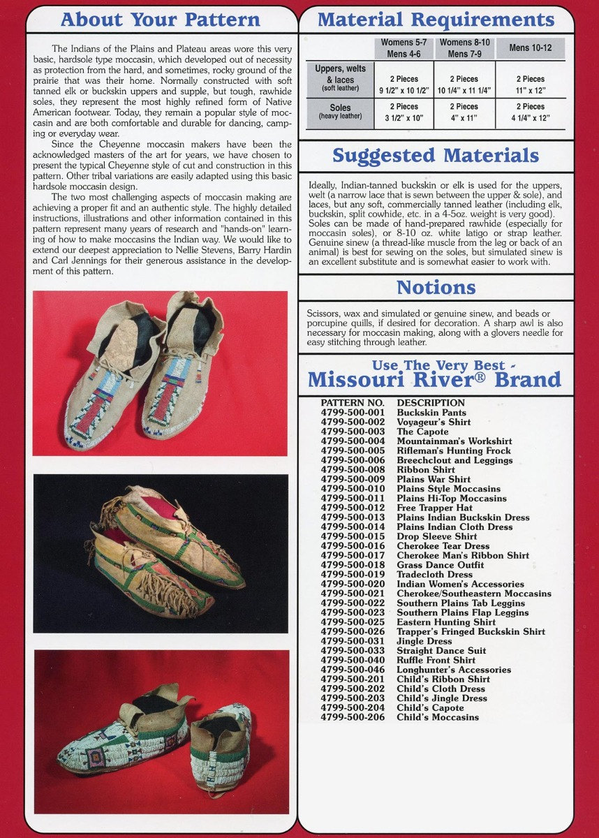 Missouri River Native American Indian Plains Style Moccasins Sewing ...