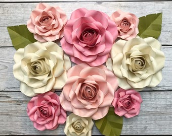Paper Flower Backdrop - Roses, Shabby Chic, Wedding Decor, Bridal Shower, Nursery Flowers