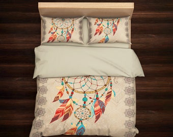 Boho Bedding, Dream Catcher Bedding, Bohemian Bedding, Mandala Bedding, Bohemian Duvet Cover, Hippie Bedding, Queen Bedding, King Bedding