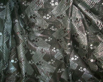Finest cotton with metal antique deco fabric yardage