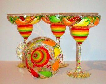 Hot Chili Peppers Hand Painted Tall Margarita Glasses 4 -13 oz. Hand Painted Festive Peppers Red Orange Yellow Green Stripes Fiesta & Party