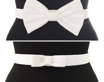 Smooth Cotton Bow Belts | 7 COLORS | 2 STYLES | Red Belt | Black Belt | Blue Belt | Bow Belt | Pin Up | Vintage | White Bow Belt