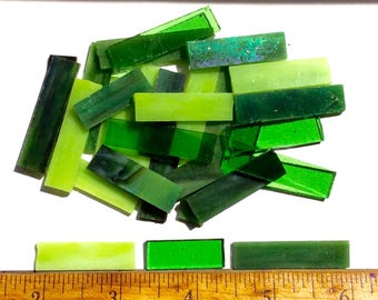 Green Mix Tiffany Stained Glass Border Mosaic Tiles//Rectangle Tiles//Mosaic Supplies//Mosaic