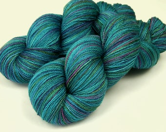 Hand Dyed Yarn, Lace Weight Superwash BFL Wool Silk - Aegean Multi - Blue Green Turquoise Lace Knitting Yarn