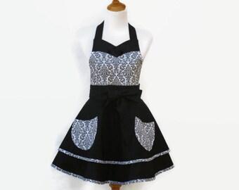Women's Black & White Retro Apron, Black and White Floral Apron,  Black Hostess Apron, Pretty Floral Retro Apron, Personalized Floral Apron