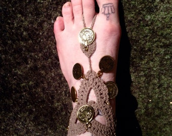 Knit Anklet with gold medals
