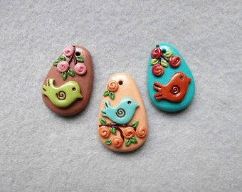 Colorful Bird Charms in Polymer Clay - Birds and More Birds!