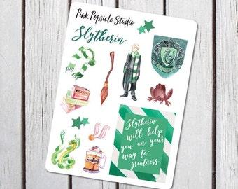 Slytherin Harry Potter Sampler Planner Stickers Designed for the Erin Condren Life Planner
