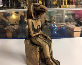 Vintage Hand Carved Egyptian Mother Goddess ISIS And Her Son Made In Egypt
