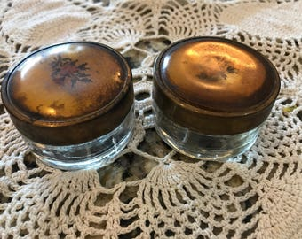 Vintage brass and glass cosmetics jars. Set of 2.