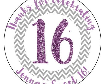 sweet 16 birthday stickers, lavender sweet 16 party supplies, gray 16th birthday stickers, personalized birthday stickers
