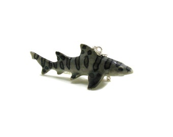 Leopard Shark Necklace, Charm Necklace, Charm Jewelry, Leopard Shark Charm, Shark Jewelry, Marine Life Necklace, Ocean Animal Charm