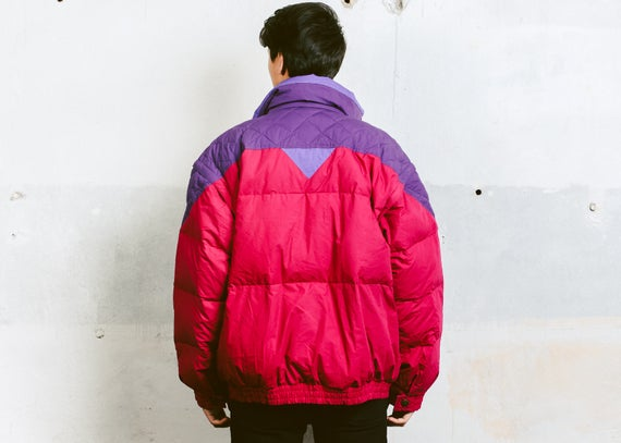 Jacket 90s Colourful XL Jacket Snowboarding Dawn Hipster Vintage Large Winter 90s Extra Outerwear size Jacket Jacket Men's Ski Parka ycBqIw0Ywg