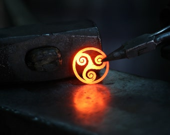 Forged Iron Triskele Necklace Celtic Pendant