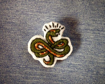 Old school snake hand embroidered brooch