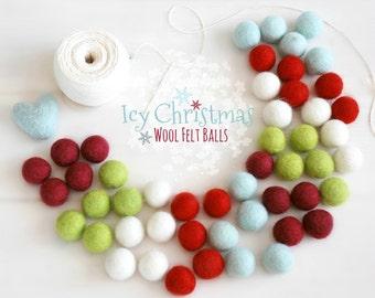 Felt Balls - Christmas Felt Balls #2 - 100% Wool Felt Balls - 50 Wool Felt Balls - (18 - 20 mm) -  2cm Felt Balls - Christmas Garland Decor