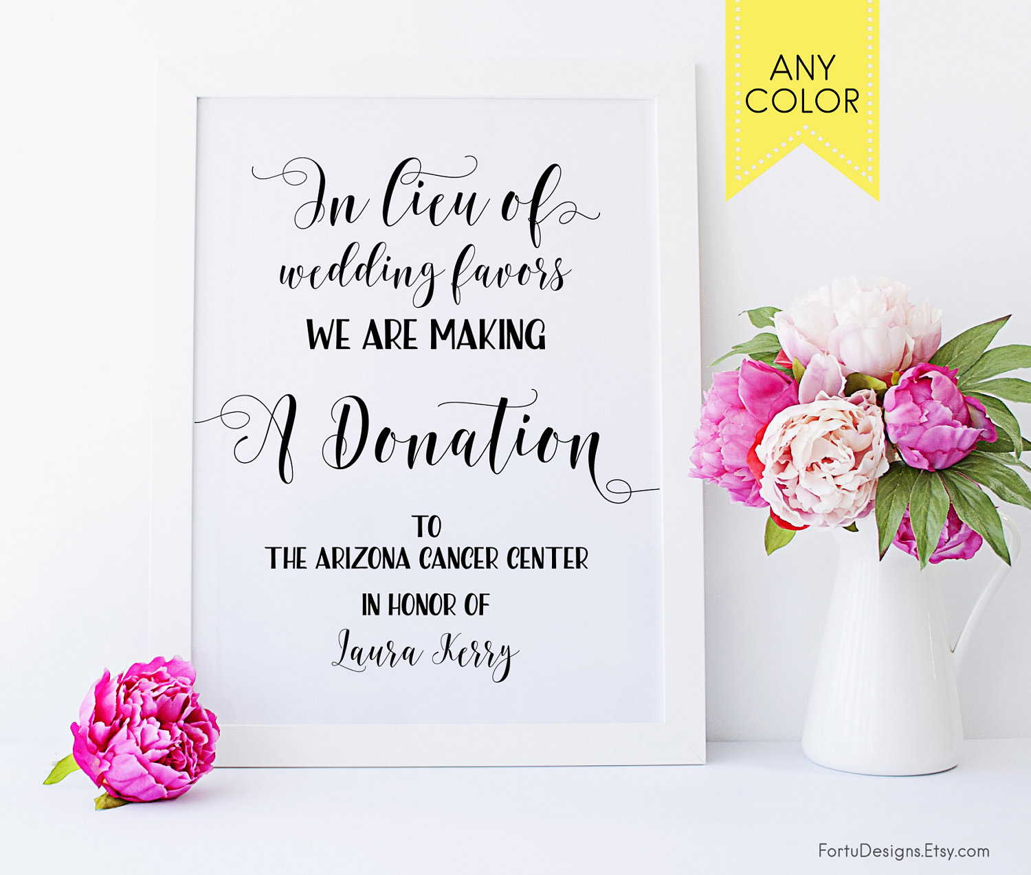 In lieu of favors sign Wedding donation sign Donation favor