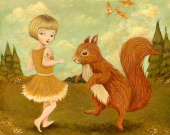 Children's Art - Come Dance with Me, said the Red Squirrel Print 5x5 / 7x7 - Nursery, Animal Art, Dancing, Forest, Acorn, Girl, Cute, Kids