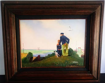 "Vintage Oil Painting Sailor, Boy & Dog Signed C Manuel, Canvas 16"" x 12"", Frame 24"" x 30"""