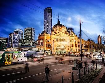 Melbourne Photography Lounge Decor Flinders Street Wall Art Night Prints City Wall Decor Birthday Gift for him Travel FREE POST AUSTRALIA