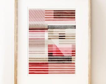 Stripy abstract art print 'Lined'. Living room decor. Art under 50. Modern wall art