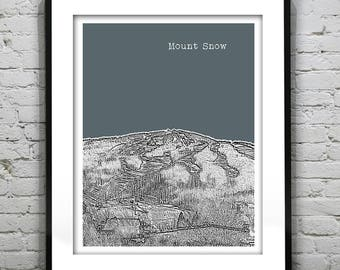 Mount Snow Vermont Skyline Poster Art Print VT Item T1303