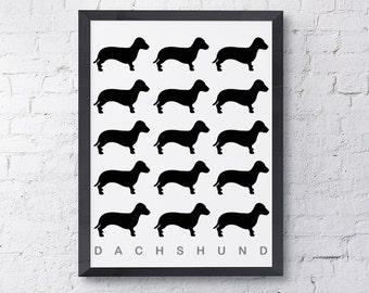 Black/Black Outline Dachshund Multiple Pattern Dog Print, Dog Art, Dog Poster, Pop Wall Art