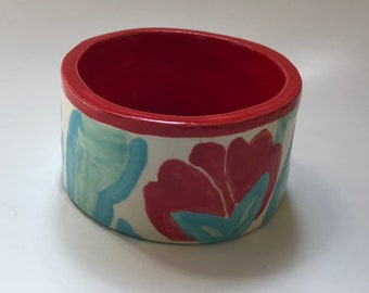 cute pottery Storage or Serving Dish whimsical red & turquoise flowers, salsa, salt cellar, desk bowl, bathroom dish