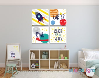 Boys Outer Space Personalized Wall Art, Rocket Ship, Planets, Stars - Nursery Wall Art - CANVAS or PRINTABLE - Outer Space Kid's Room Prints