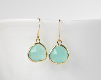 Mint Green Quartz and Gold Framed Dangle Earrings, Mint Green Gold Dangle Earrings, Green Gold Earrings, Gold Earrings, Bridesmaid Earrings