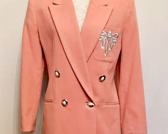 80s Soft Pink Double Breasted Blazer   VG348