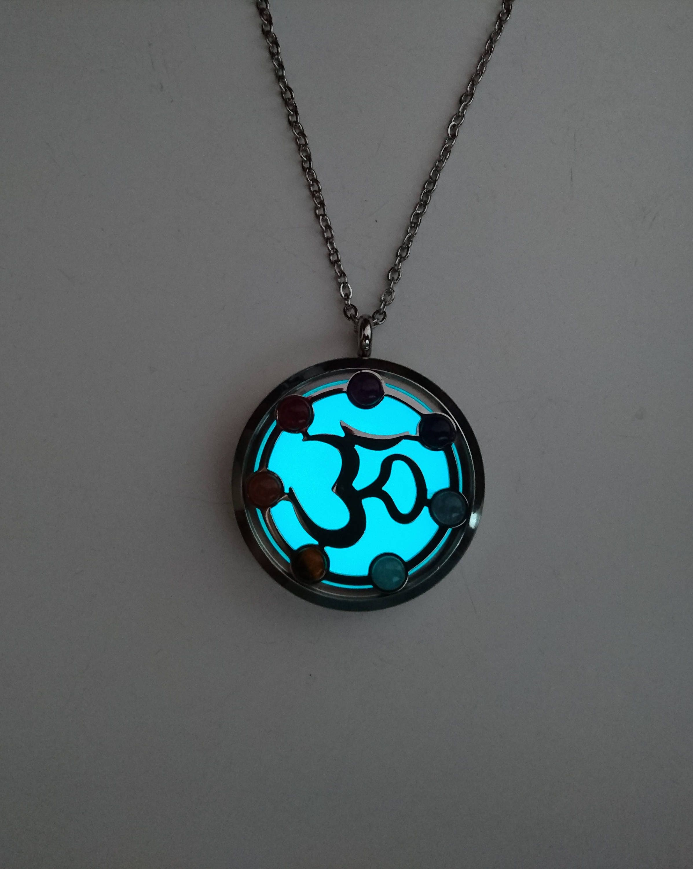 jewelry product in cyan necklace pendant glow the dark cube original halloween free shipping