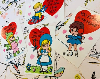 SALE Vintage Set of 4 Valentine's Day Cards