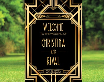 Printable Gatsby Wedding Welcome Sign, Welcome wedding sign, art deco wedding signs, Modern Wedding Sign, welcome to our wedding | WWS004