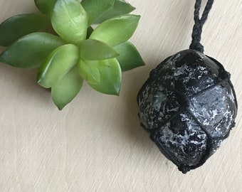 Apache Tear Necklace - Black Crystal - Raw Crystal Pendant - Black Obsidian Jewelry - Rough Spirit Stone - Healing Crystal Necklace - Grief