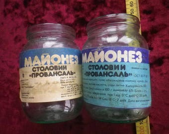 vintage ussr / Soviet mayonnaise jars / with original labels / scarce to find